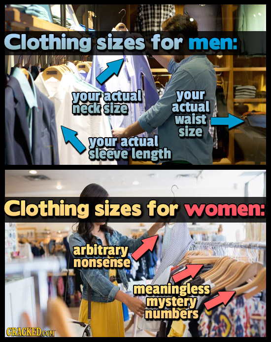 Clothing sizes for men: your actual your neck size actual waist size your actual sleeve length Clothing sizes for women: arbitrary, nonsense meaningle