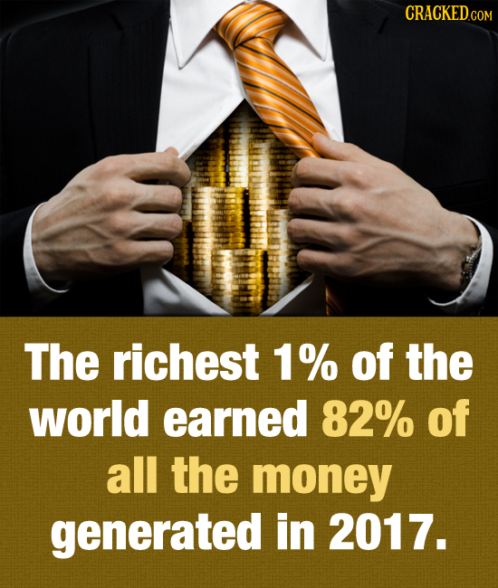CRACKEDc COM The richest 1% of the world earned 82% of all the money generated in 2017.