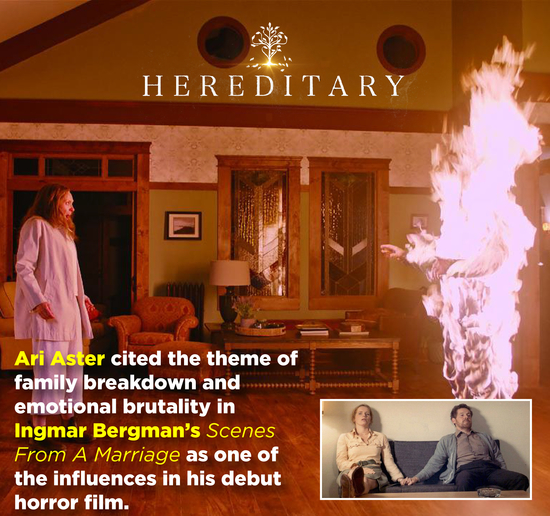 HEREDITARY Ari Aster cited the theme of family breakdown and emotional brutality in Ingmar Bergman's Scenes From A Marriage as one of the influences i
