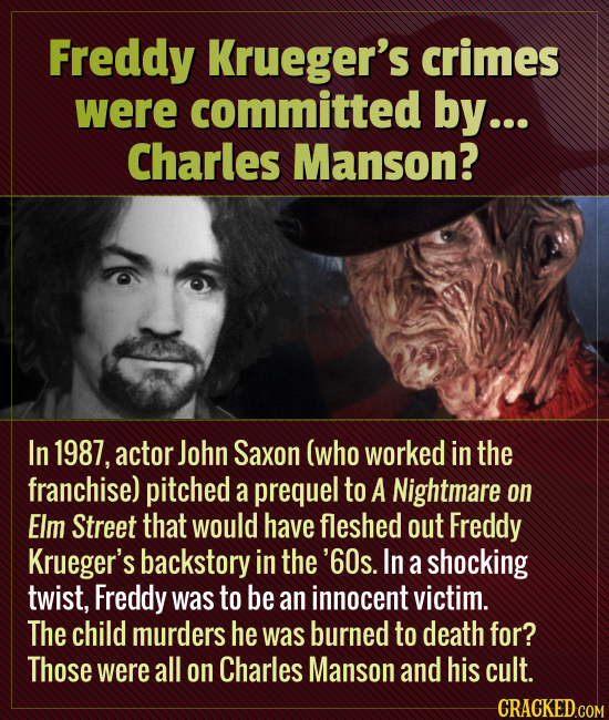 Freddy Krueger's crimes were committed by... Charles Manson? In 1987, actor John Saxon (who worked in the franchise) pitched a prequel to A Nightmare