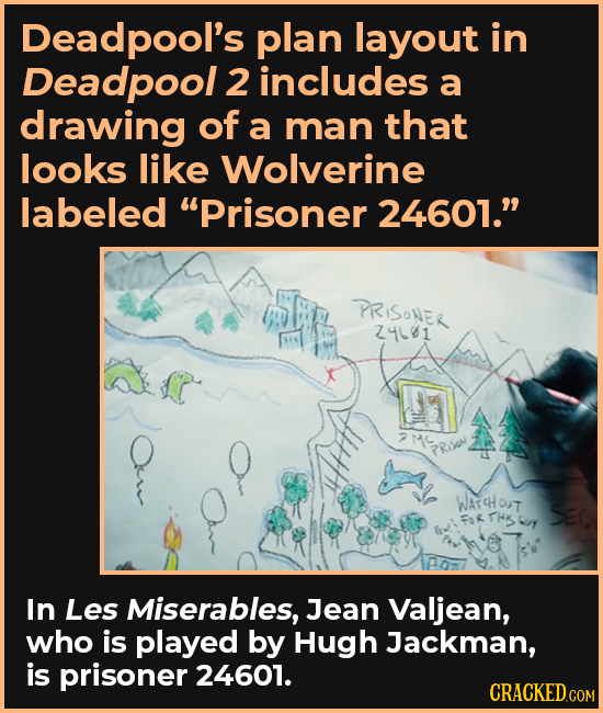 Deadpool's plan layout in Deadpool 2 includes a drawing of a man that looks like Wolverine labeled Prisoner 24601. PRISONER 244061 2M PRSON WATCHOUT