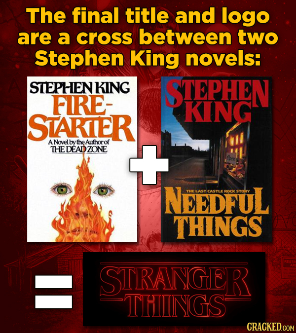 The final title and logo are a cross between two Stephen King novels: STEPHEN KING STEPHEN FIRE- KING STAKIER A Novel bytheAuthorof THEDEADZONE NeEDFU