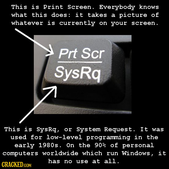 This is Print Screen. Everybody knows what this does: it takes a picture of whatever is currently on your screen. Prt Scr SysRq This is SysRq, or Syst