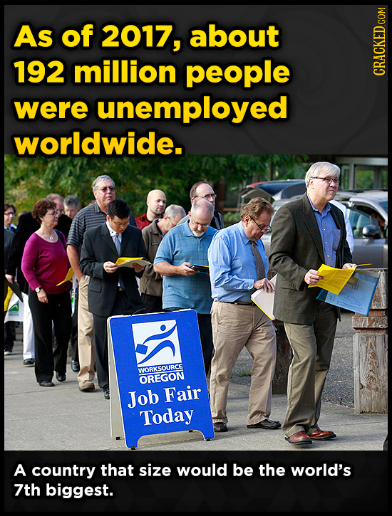 As of 2017, about 192 million people CRACKED COM were unemployed worldwide. WORKSOURCE OREGON Job Fair Today A country that size would be the world's