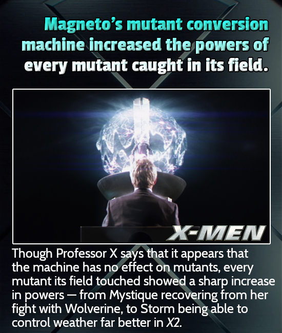 Magneto's mutant conversion machine increased the powers of every mutant caught in its field. X-MEN Though Professor X says that it appears that the m