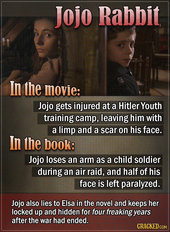 Jojo Rabbit In the movie: Jojo gets injured at a Hitler Youth training camp, leaving him with a limp and a scar on his face. In the book: Jojo loses a