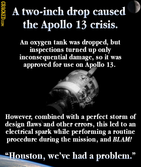 CDAOT A two-inch drop caused the Apollo 13 crisis. An oxygen tank was dropped, but inspections turned up only inconsequential damage, so it was approv