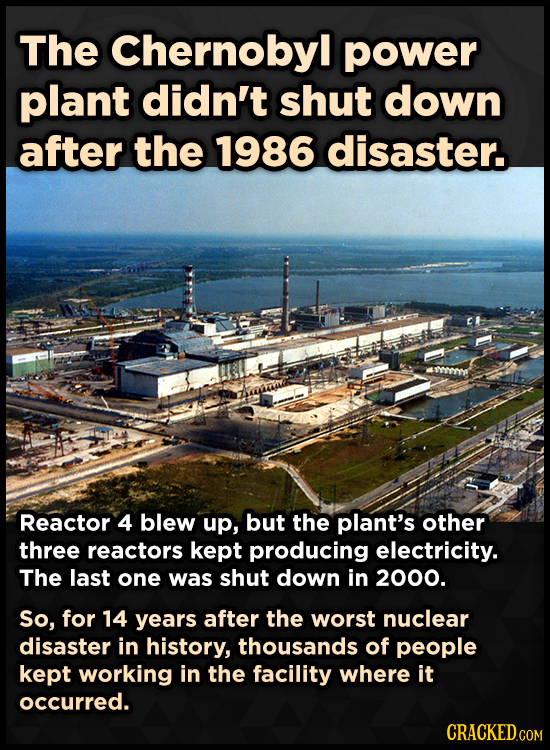 The Chernobyl power plant didn't shut down after the 1986 disaster. Reactor 4 blew up, but the plant's other three reactors kept producing electricity