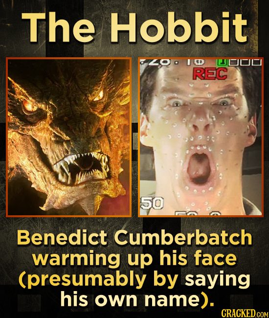 The Hobbit 4OD IED ILLL REC 50 Benedict Cumberbatch warming up his face (presumably by saying his own name).