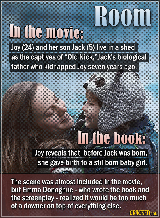 Room In the movie: Joy (24) and her son Jack (5) live in a shed as the captives of Old Nick, Jack's biological father who kidnapped Joy seven years