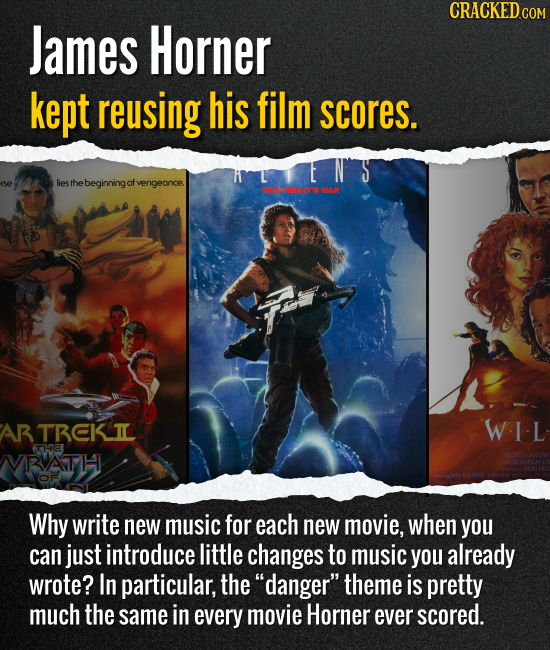 James Horner kept reusing his film scores. Why write new music for each new movie, when you can just introduce little changes to music you already wro