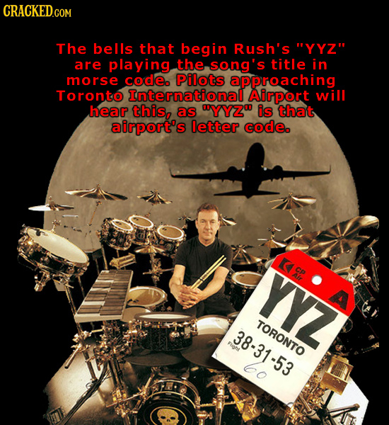 The bells that begin Rush's YYZ are playing the song's title in morse code Pilots approaching Toronto International Airport will hear this, as UYYZO