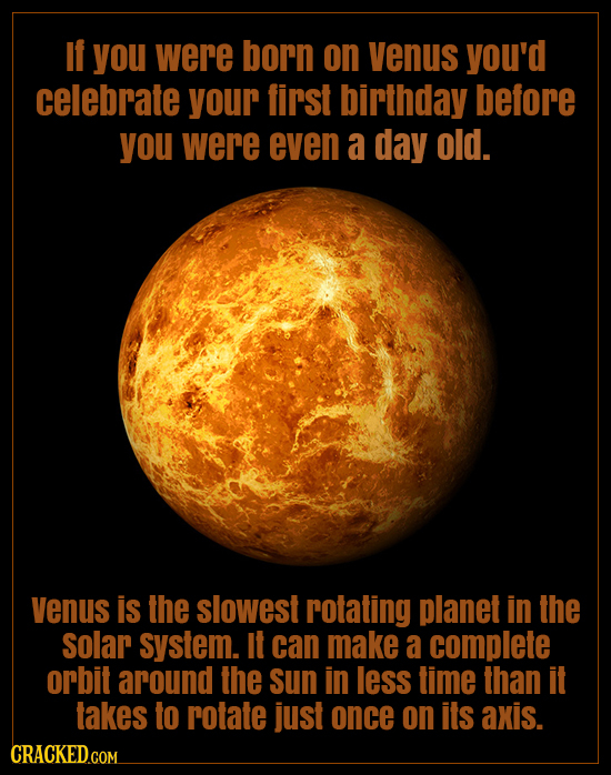 if you were born on venus you'd celebrate your finst birthday before you were even a day old. Venus is the slowest rotating planet in the solar system