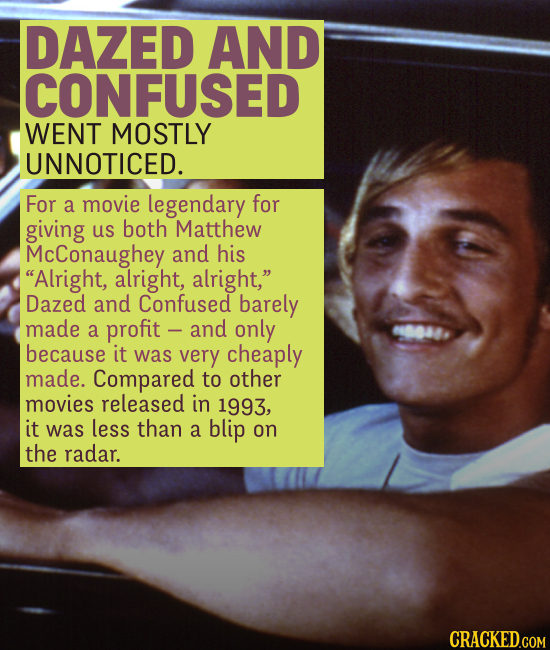 DAZED AND CONFUSED WENT MOSTLY UNNOTICED. For a movie legendary for giving us both Matthew McConaughey and his Alright, alright, alright, Dazed and
