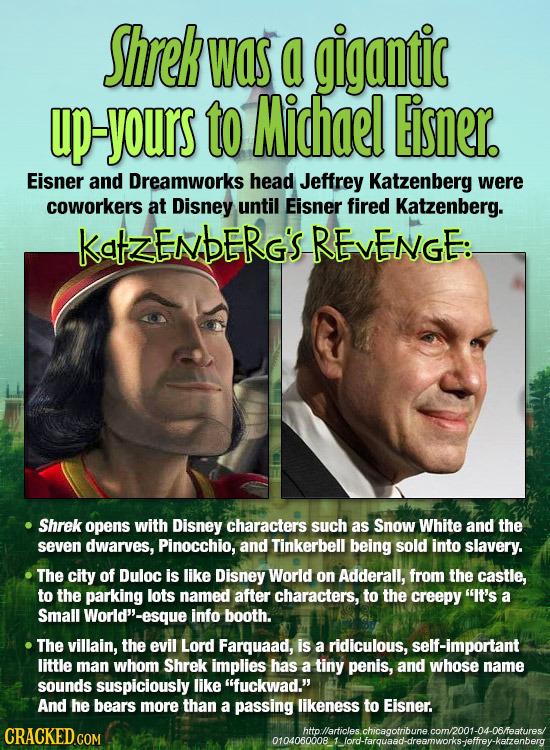 Shrek WaS a gigantic up-yours to Michael Eisner. Eisner and Dreamworks head Jeffrey Katzenberg were coworkers at Disney until Eisner fired Katzenberg.