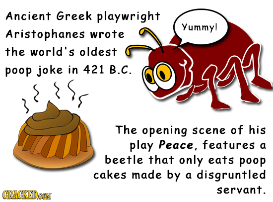 Ancient Greek playwright Yummy! Aristophanes wrote the world's oldest poop joke in 421 B.C. The opening scene of his play Peace, features a beetle tha