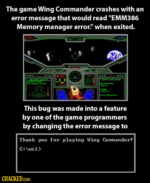 The game Wing Commander crashes with an error message that would read EMM386 Memory manager error. when exited. Ject JICT 1L42 1314 onz KAVICATION 0