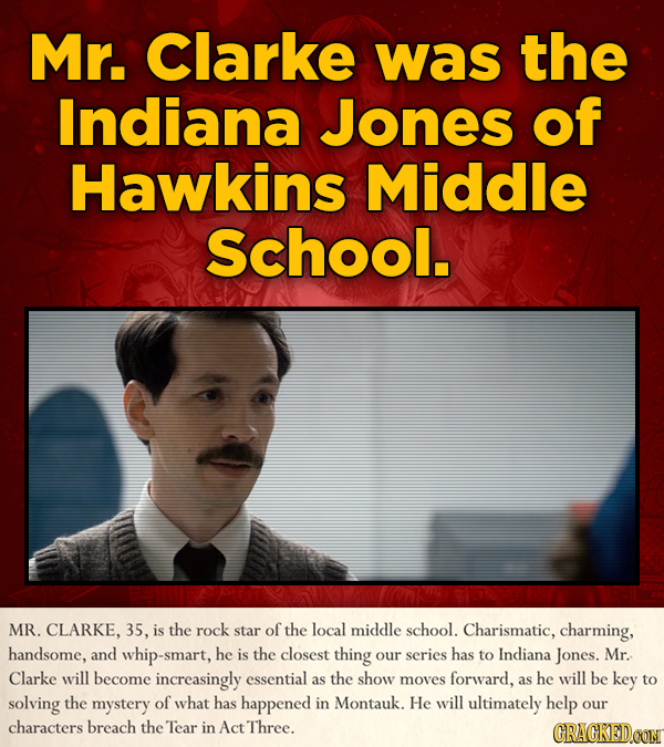 Mr. Clarke was the Indiana Jones of Hawkins Middle School. MR. CLARKE, 35, is the rock star of the local middle school. Charismatic, charming, handsom