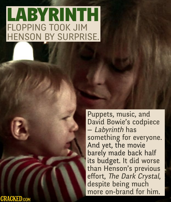 LABYRINTH FLOPPING TOOK JIM HENSON BY SURPRISE. Puppets, music, and David Bowie's codpiece - Labyrinth has something for everyone. And yet, the movie