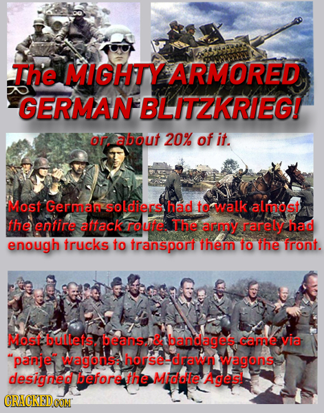 The MIGHTY ARMORED GERMAN BLITZKRIEG! Or about 20% of it. Most Germar ooldiers had to walk almost the entire allack route The arm rarely had enough tr