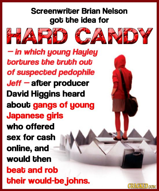 Screenwriter Brian Nelson got the idea for HARD CANDY -in which young Hayley tortures the truth out of suspected pedophile Jeff after producer David H