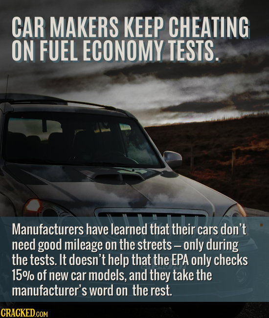 CAR MAKERS KEEP CHEATING ON FUEL ECONOMY TESTS. Manufacturers have learned that their cars don't need good mileage on the streets- only during the tes