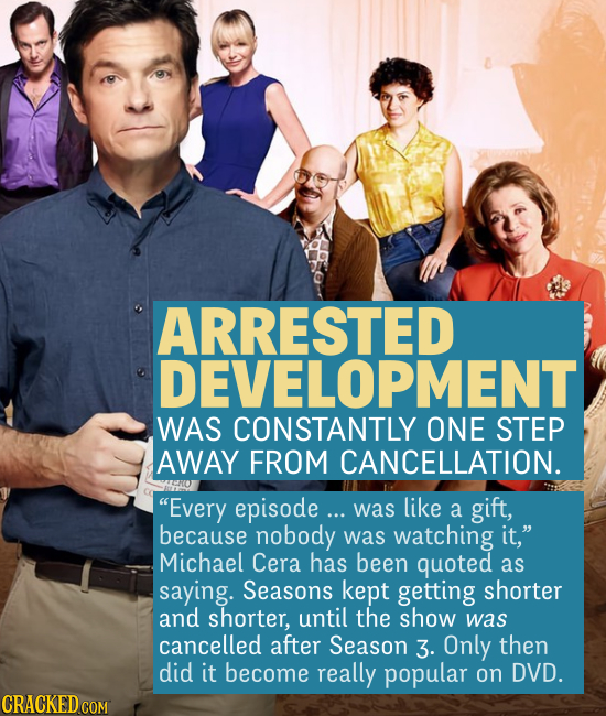 ARRESTED DEVELOPMENT WAS CONSTANTLY ONE STEP AWAY FROM CANCELLATION. Every episode ... was like a gift, because nobody was watching it, Michael Cera