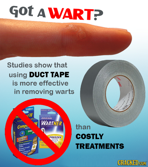 Got A WARTP Studies show that using DUCT TAPE is more effective in removing warts 6 W ORICINAL WSRTNER Compe than ONE -1 COSTLY FREEZES TREATMENTS ter