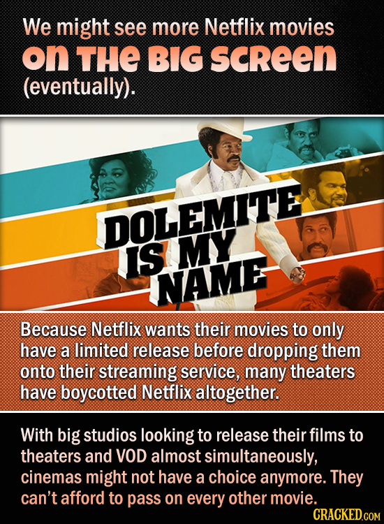We might see more Netflix movies on THE BIG SCREEN (eventually). DOLEMITE IS MY NAME Because Netflix wants their movies to only have a limited release