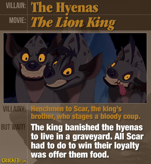 VILLAIN: The Hyenas MOVIE: The Lion King VILLAINY: Henchmen to Scar, the king's brother, who stages a bloody coup. BUT WAIT! The king banished the hye