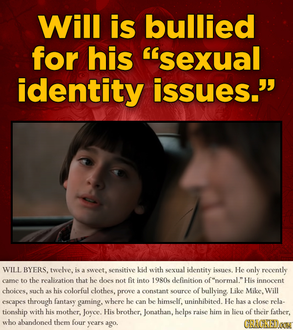 Will is bullied for his 'sexual identity issues. WILL BYERS, twelve, is a sweet, sensitive kid with sexual identity issues. He only recently came to