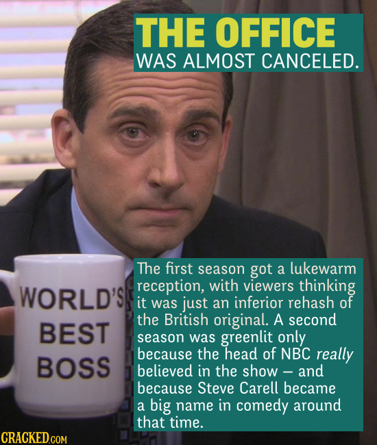 THE OFFICE WAS ALMOST CANCELED. The first season got a lukewarm reception, with viewers thinking it was just an inferior rehash of the British