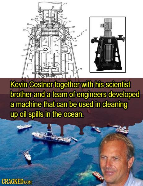 12 Kevin Costner together with his scientist brother and a team of engineers developed a machine that can be used in cleaning up oil spills in the oce