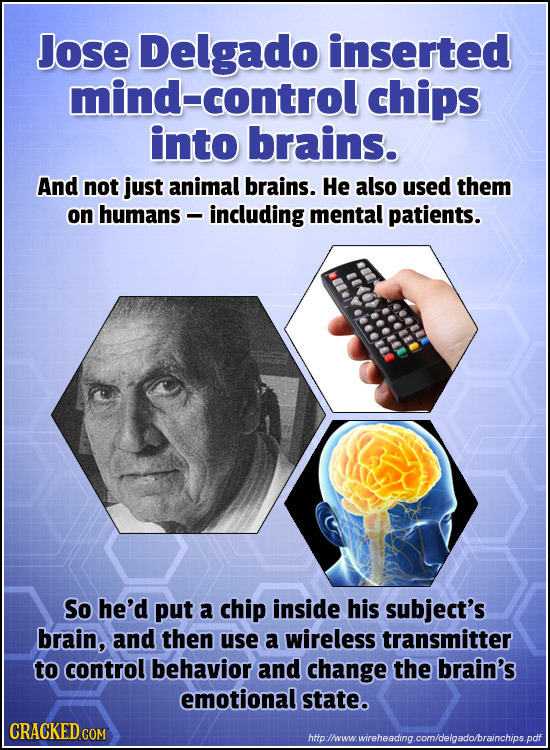 Jose Delgado inserted mind-control chips into brains. And not just animal brains. He also used them on humans - including mental patients. So he'd put