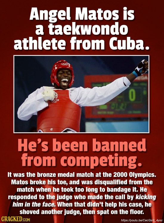Angel Matos is a taekwondo athlete from Cuba. 0 He's been banned from competing. It was the bronze medal match at the 2000 Olympics. Matos broke his t