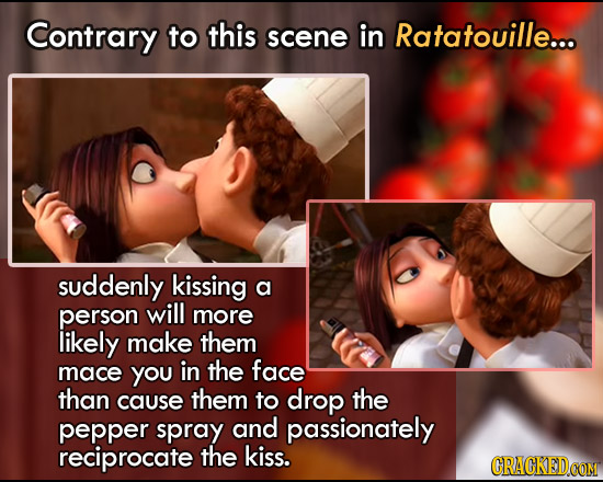 Contrary to this scene in Ratatouille... suddenly kissing a person will more likely make them mace you in the face than cause them to drop the pepper