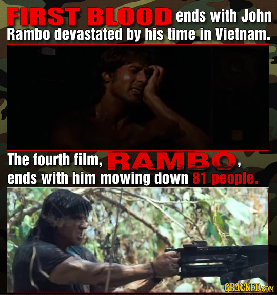 FIRST BLOOD ends with John Rambo devastated by his time in Vietnam. The fourth film, RAMBO, ends with him mowing down 81 people.