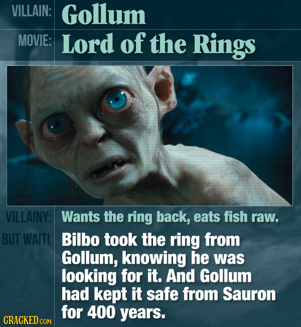 VILLAIN: Gollum MOVIE: Lord of the Rings VILLAINY: Wants the ring back, eats fish raw. BUT WAIT! Bilbo took the ring from Gollum, knowing he was looki
