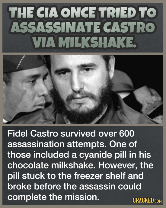 THE CIA ONCE TRIED TO ASSASSINATE CASTRO VIA MILKSHAKE. Fidel Castro survived over 600 assassination attempts. One of those included a cyanide pill in