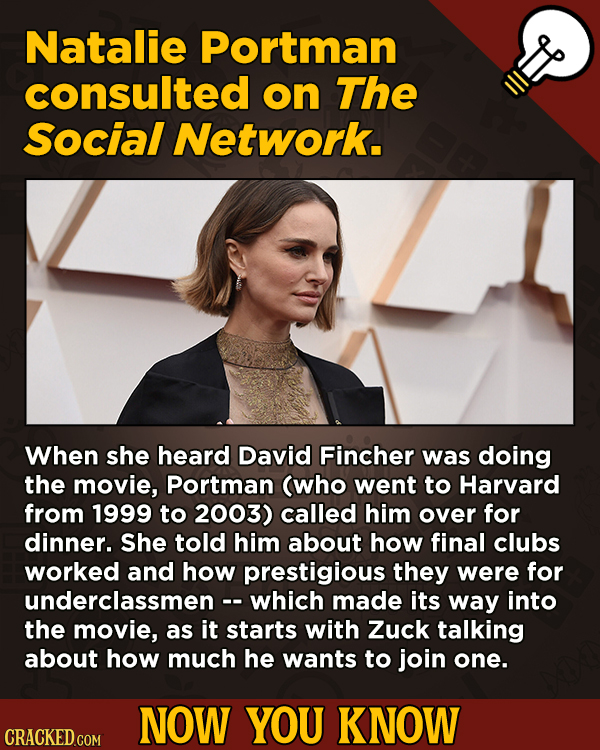 13 Scintillating Now-You-Know Movie Facts and General Trivia - Natalie Portman consulted on The Social Network.