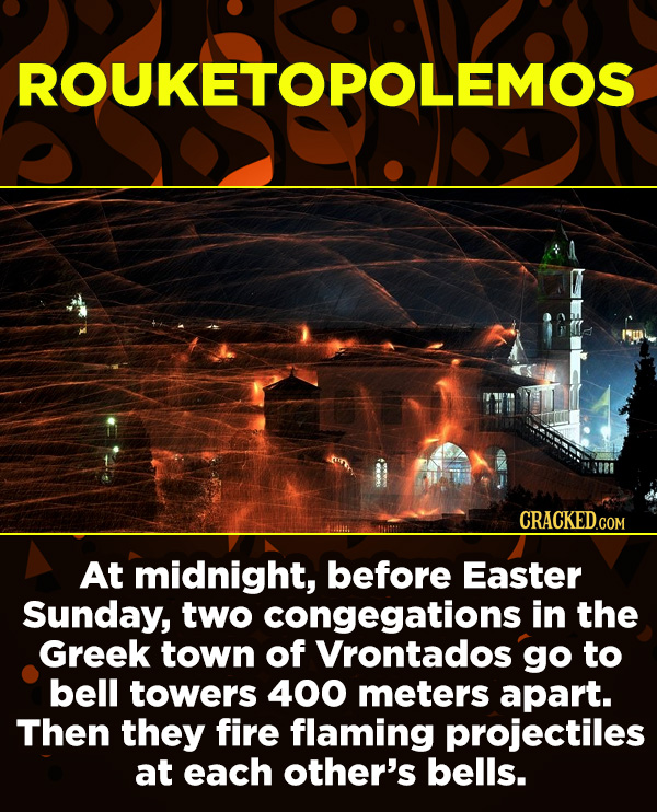 15 Amazing Festivals You Wish You Could Celebrate Right Now - At midnight, before Easter Sunday, two congegations in the Greek town of Vrontados go to
