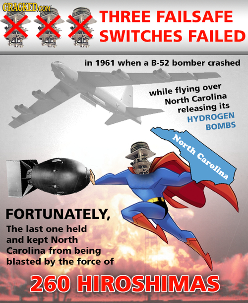XXX THREE FAILSAFE SWITCHES FAILED in 1961 when a B-52 bomber crashed flying over while North Carolina its releasing HYDROGEN BOMBS North Carolina FOR