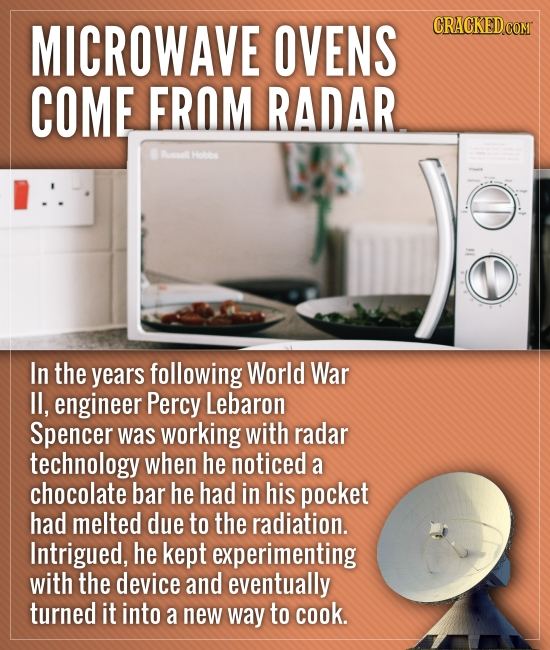 MICROWAVE OVENS COME FROM RADAR Runsel Hobbe In the years following World War lI, engineer Percy Lebaron Spencer was working with radar technology whe