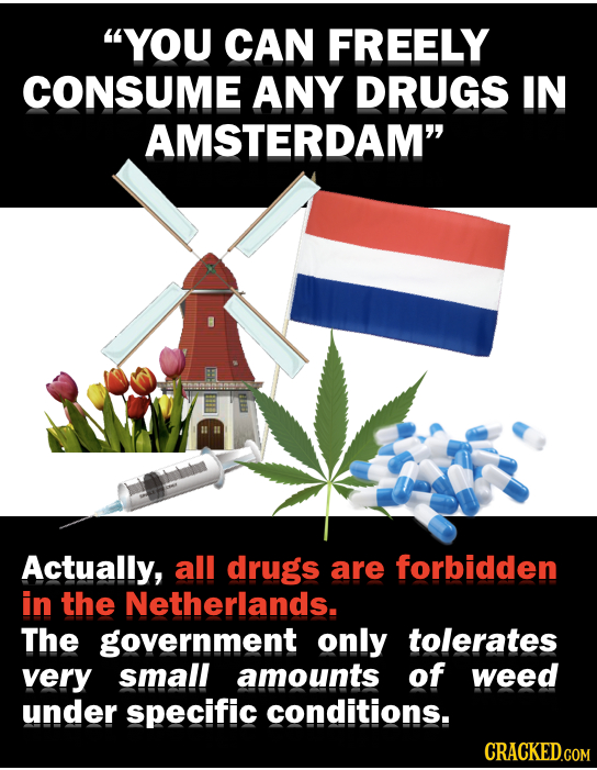 YOU CAN FREELY CONSUME ANY DRUGS IN AMSTERDAM Actually, all drugs are forbidden in the Netherlands. The government only tolerates very small amounts