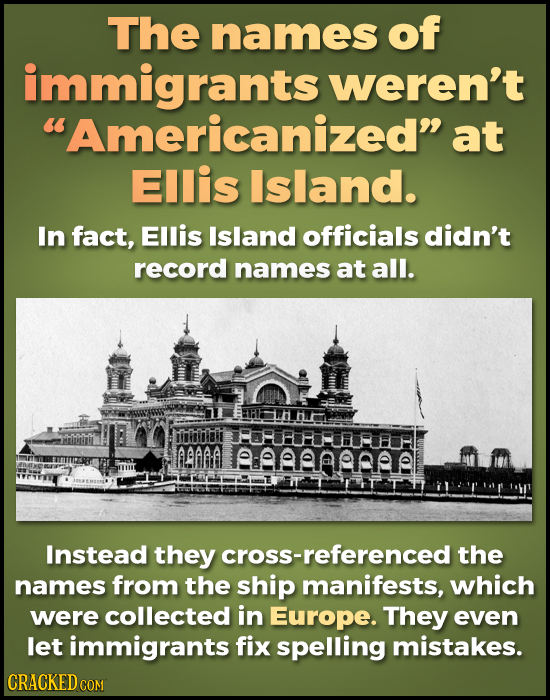 The names of immigrants weren't Americanized at Ellis Island. In fact, Ellis Island officials didn't record names at all. isiiilbii FFHEFIFH BAAA Ae