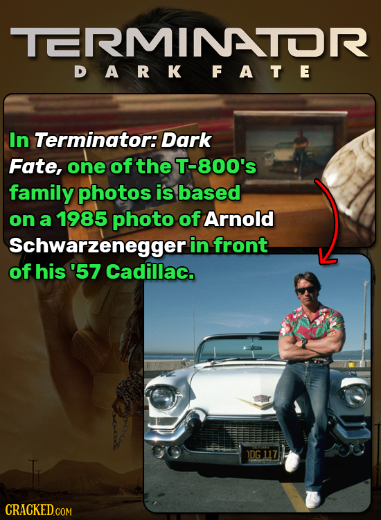 TERMINTOR DARKFATE In Terminator: Dark Fate, one of the T-800's family photos is based on a 1985 photo of Arnold Schwarzenegger in front of his '57 Ca