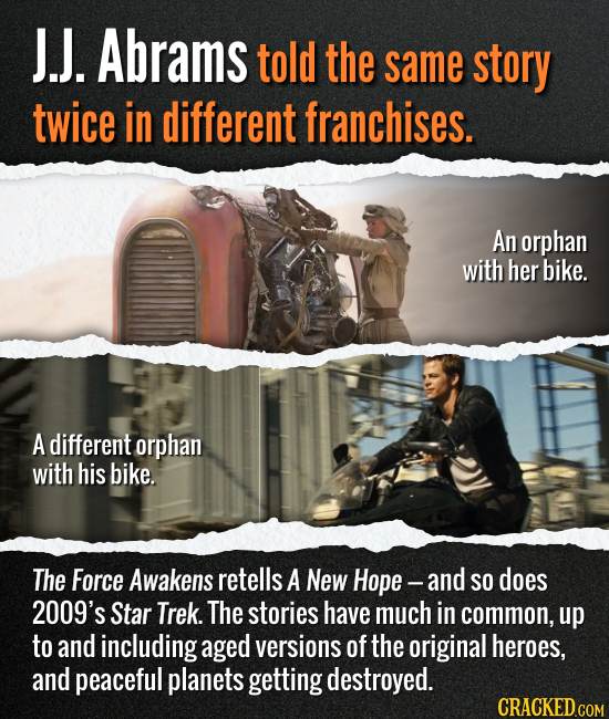 J.J. Abrams told the same story twice in different franchises. An orphan with her bike. A different orphan with his bike. The Force Awakens retells A