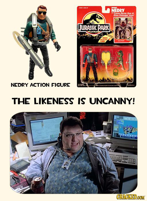 MNNL NEDRY Trann Snry on Dimo Damage JURASSIC PARK P CARS NEDRY ACTION FIGURE THE LIKENESS IS UNCANNY! CRACKEDOON