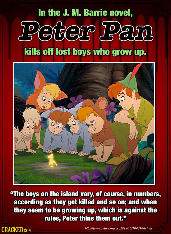 In the J. M. Barrie novel, Peter Pan kills off lost boys who grow up. The boys on the island vary, of course, in numbers, according as they get kille