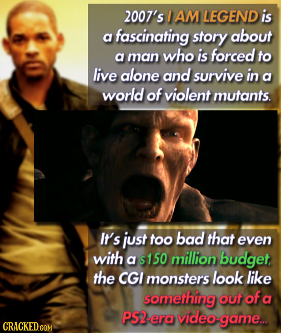 2007's I AM LEGEND is a fascinating story about a who is forced man to live alone and survive in a world of violent mutants. It's just too bad that ev